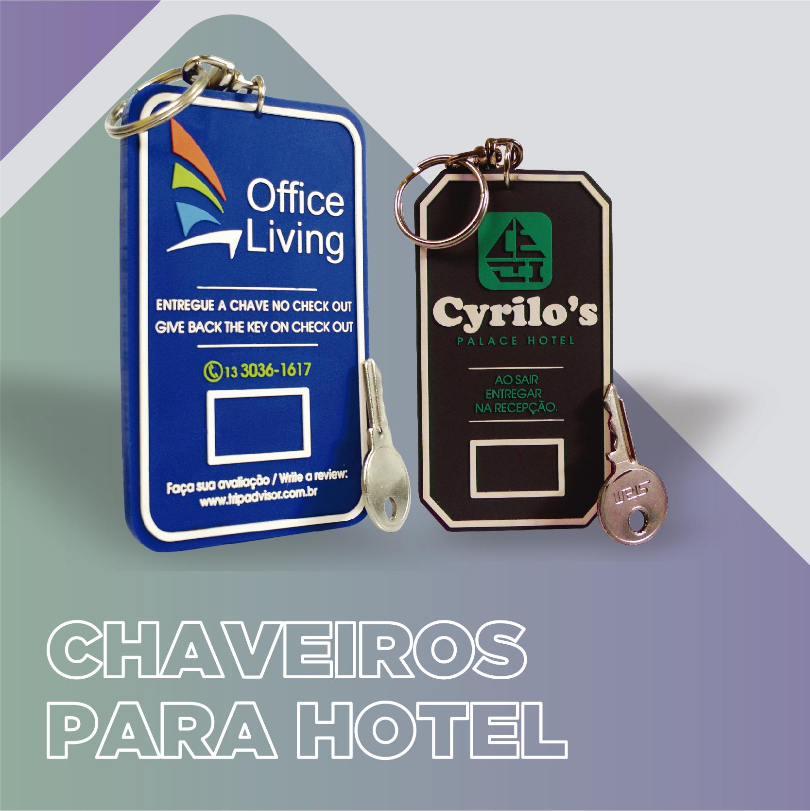 Chaveiro de hotel personalizado com sua marca em relevo e formato especial